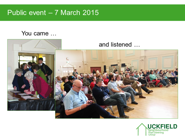 7 March 2015 Event showing community attending presentation. You came, and listened.